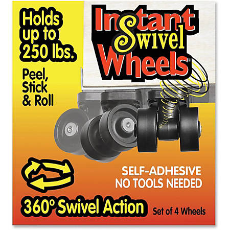 Master Mfg. Co RollArounds® Instant Swivel Wheels - Self-Adhesive, 250 lbs/Set, Black, 4/Set