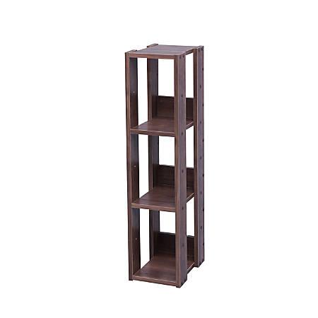 "IRIS Mado 35""H 3-Shelf Slim Open Shelving Unit, Brown"
