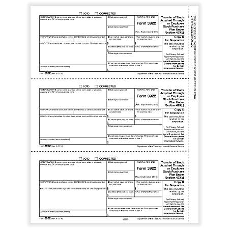"""ComplyRight™ 3922 Laser Tax Forms, Copy C, 8-1/2"""" x 11"""", Pack Of 50 Forms"""