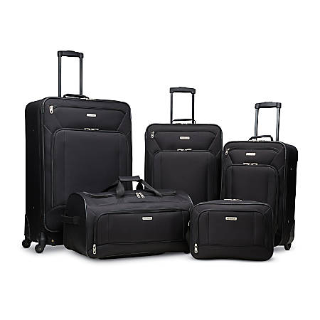 American Tourister® Fieldbrook XLT Polyester 5-Piece Rolling Luggage Set, Black