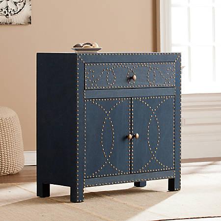 Southern Enterprises Florian Engineered Wood Double-Door Cabinet, 2 Shelves, Bronze/Navy