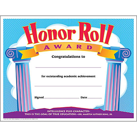 Trend Honor Roll Award Certificates, Pack Of 12
