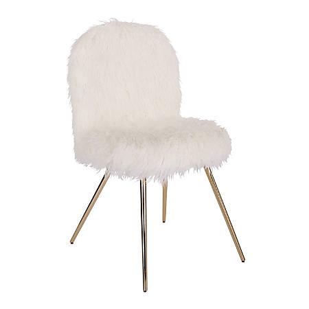 Office Star™ Avenue Six Julia Faux Fur Chair, White/Gold