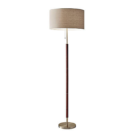 "Adesso® Hamilton Floor Lamp, 65 1/2""H, Natural Shade/Antique Brass Base"