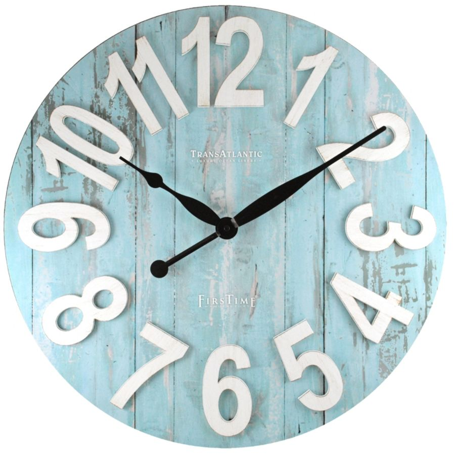 FirsTime Transatlantic Wall Clock 22 12 Light BlueWhite by Office
