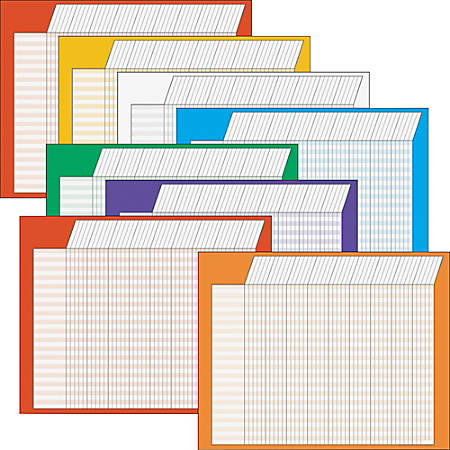 Trend Horizontal Incentive Charts, Assorted Colors, Pack Of 8