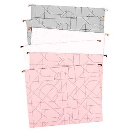 """U Brands Hanging File Folders, 2"""" Expansion, Letter Size, Assorted Pretty Colors, Pack Of 6 Folders"""