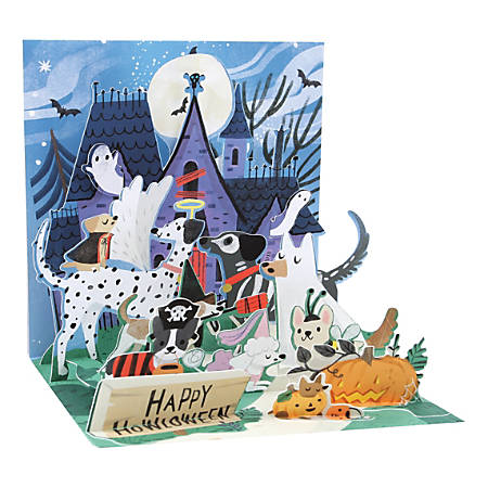 """Up With Paper Halloween Pop-Up Greeting Card With Envelope, Half Fold, 5-1/4"""" x 5-1/4"""", Howloween Dogs, Message Inside"""