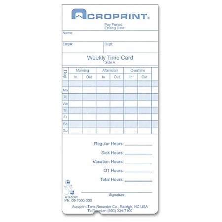 Acroprint Time Clock 240/360 Replacement Time Cards - 250 / Pack