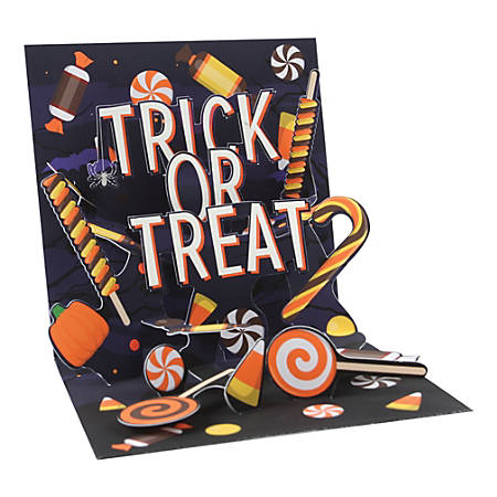 """Up With Paper Halloween Pop-Up Greeting Card With Envelope, Half Fold, 5-1/4"""" x 5-1/4"""", Halloween Candy, Message Inside"""