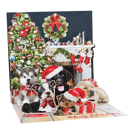 """Up With Paper Christmas Pop-Up Greeting Card With Envelope, 5-1/4"""" x 5-1/4"""", Christmas Puppies, Message Inside"""