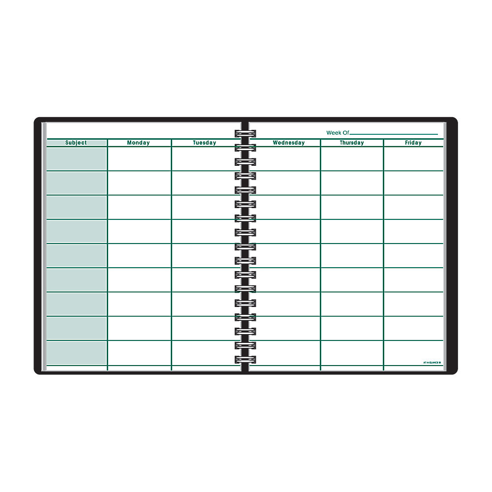 Store your weekly plans, class records and seating charts all in one place  Includes space for 9 subjects per 2-page spread.