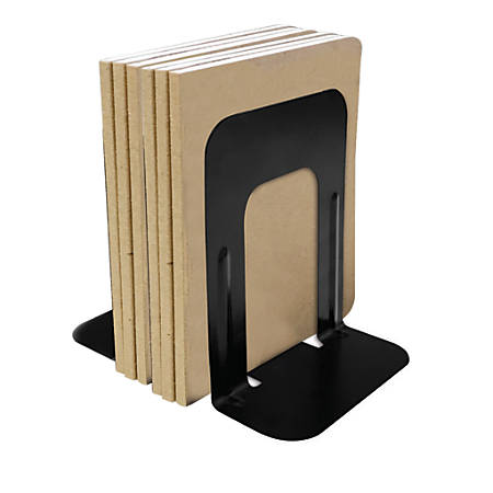 "Brenton Studio™ Nonskid Steel Bookends, 9"", Black, Set Of 2"