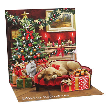 """Up With Paper Christmas Pop-Up Greeting Card With Envelope, 5-1/4"""" x 5-1/4"""", Holiday Room, Message Inside"""