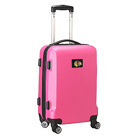"""Denco 2-In-1 Hard Case Rolling Carry-On Luggage, 21""""H x 13""""W x 9""""D, Chicago Blackhawks, Pink"""