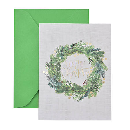 """Gartner™ Studios Holiday Boxed Cards, 5"""" x 7"""", Wreath, Box Of 20 Cards"""