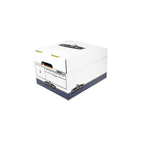 "Bankers Box® R-Kive® O/S™ Storage Box, 15"" x 12"" x 10"", 60% Recycled, White/Blue"