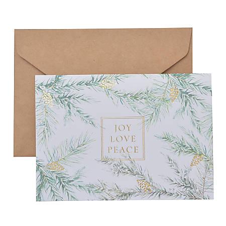 "Gartner™ Studios Holiday Boxed Cards, 5"" x 7"", Joy Love Peace, Box Of 20 Cards"