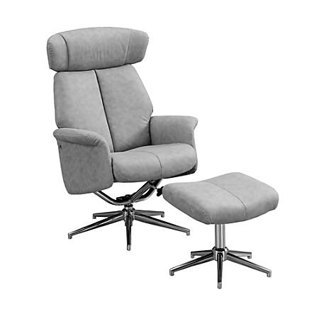 Prime Monarch Specialties Retro Modern Swivel Recliner Chair And Ottoman Set Gray Chrome Item 6788770 Ncnpc Chair Design For Home Ncnpcorg