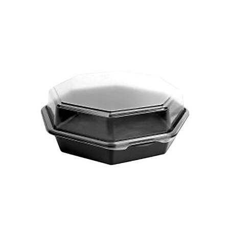 "Solo® Creative Carryouts OctaView Plastic Hinged Containers, 7-15/16""H x 7-1/2""W x 3-1/4""D, Black/Clear, Pack Of 100 Containers"