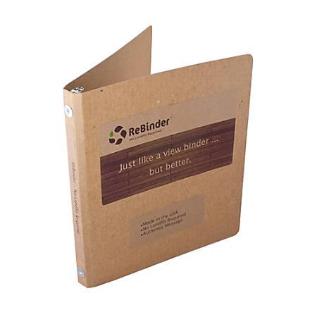 """ReBinder™ Original Cardboard 3-Ring Binders, 1/2"""" Rings, 100% Recycled, Brown Kraft"""