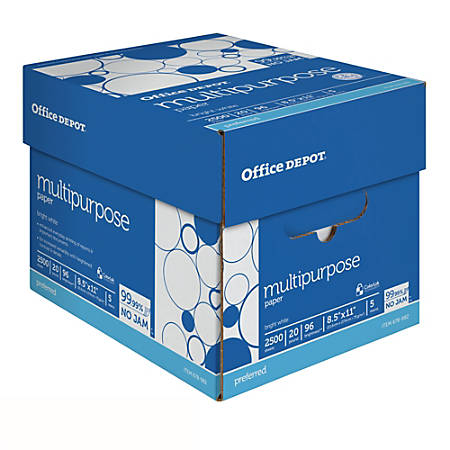 Office Depot® Brand Multipurpose Paper, Letter Paper Size, 20 Lb, 500 Sheets Per Ream, Case Of 5 Reams