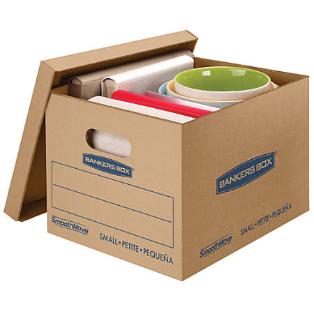 "Bankers Box® SmoothMove™ Classic Moving Boxes, Small, 10"" x 12"" x 15"", 85% Recycled, Kraft/Blue, Pack Of 15"