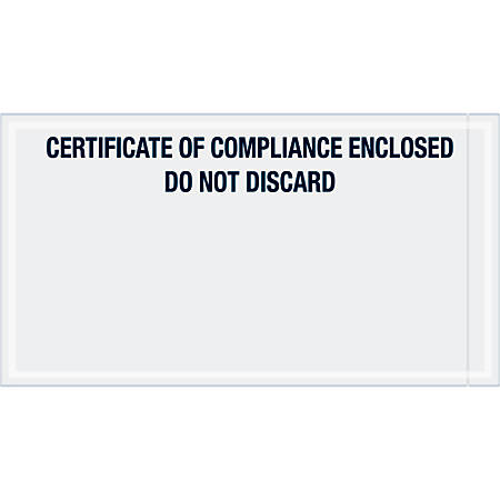 """Tape Logic® Preprinted Packing List Envelopes, Transportation, Certificate of Compliance Enclosed, 6"""" x 11"""", Printed Clear, Case Of 1,000"""