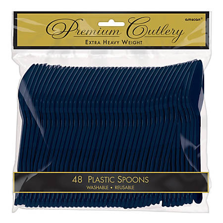 "Amscan Premium Plastic Spoons, 6-3/4"", True Navy, 48 Spoons Per Pack, Set Of 3 Packs"