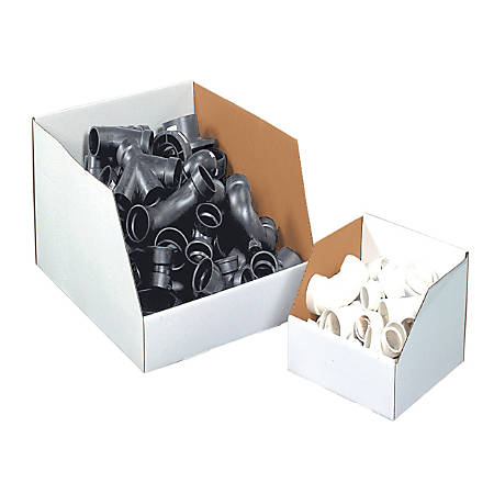 """Office Depot® Brand White Jumbo Open Top Parts Bin Boxes, 10"""" x 10"""" x 18"""", Pack Of 25"""