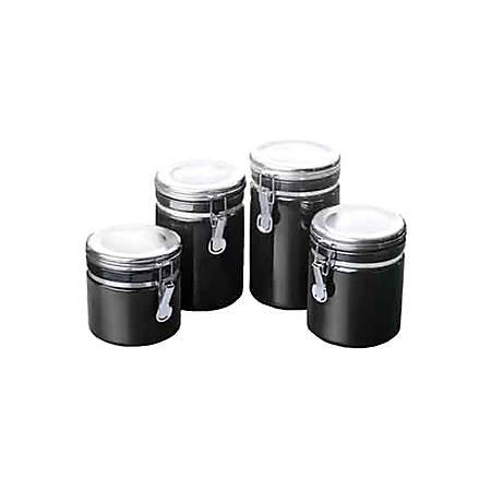 Anchor Hocking Ceramic Canister Set - Food Canister, Lid - Ceramic, Chrome Lid