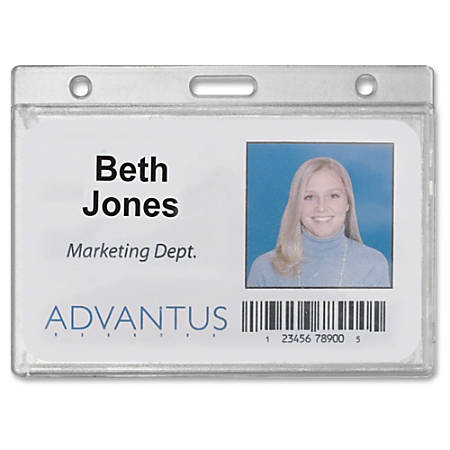 Advantus Frosted Horizontal Rigid ID Holder - Horizontal - Plastic - 25 / Box - Frosted