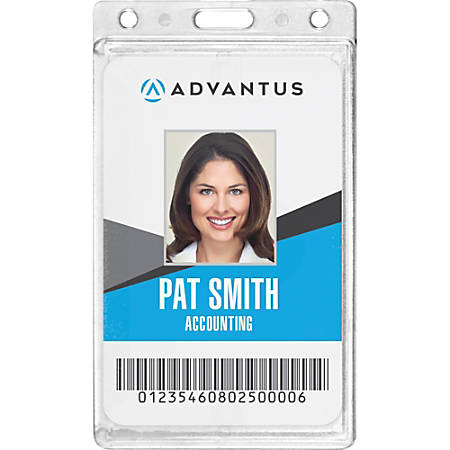 Advantus Frosted Vertical Rigid ID Holder - Vertical - Plastic - 25 / Box - Frosted