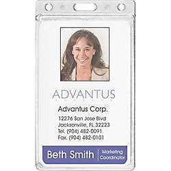 Advantus Frosted Vertical Rigid ID Holder