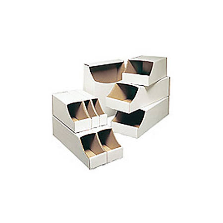 """Office Depot® Brand White Stackable Parts Bins, 4 1/2"""" x 12"""" x 12"""", Pack Of 50"""