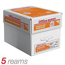 Office Depot® Brand Premium Plus Multipurpose Paper, Letter Size, 22 Lb, Pack Of 400 Sheets, Case Of 5 Packs