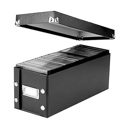 "Snap-N-Store® 50% Recycled CD/DVD Storage Box, 13 3/4"" x 5 5/8"" x 5 5/8"", Black"