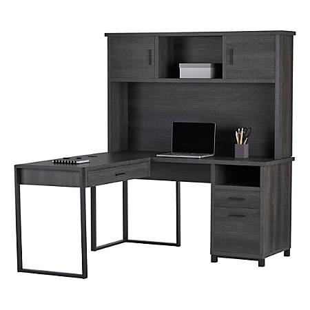 "Realspace® DeJori 59""W L-Shaped Desk With Hutch, Charcoal"