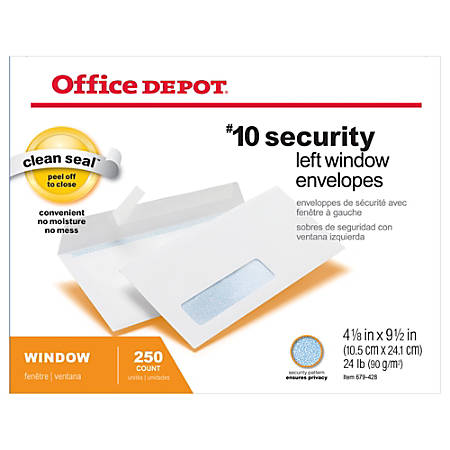 Office Depot Brand Clean Seal Security Window Envelopes X - No 10 window envelope template