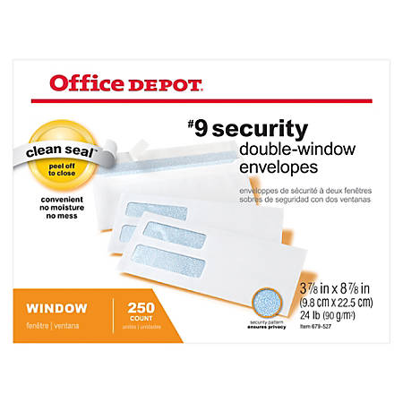 "Office Depot® Double-Window Envelopes, #9, 3-7/8"" x 8-7/8"", White, Clean Seal™, Box Of 250"