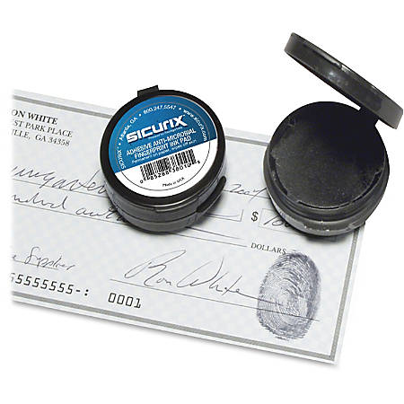 "SICURIX Adhesive Fingerprint Ink Pads - 12 / Carton - 0.5"" Height x 1.5"" Width x 1.5"" Depth - Black Ink"