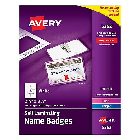 avery laminated i d badges cards clips kit box of 30 by office