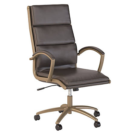 Bush Business Furniture Modelo High Back Leather Office Chair, Brown/Brushed Brass, Premium Installation