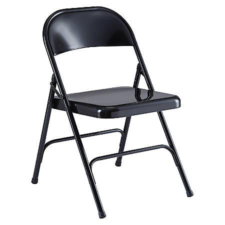 Lorell® Metal Folding Chair, Black, Set Of 4