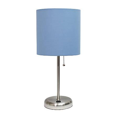 "LimeLights Stick Lamp With USB Port, 19-12""H, Blue Shade/Brushed Steel Base"