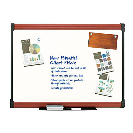 "FORAY™ Porcelain Magnetic Dry-Erase Board, 48"" x 72"", White Board, Mahogany Finish Frame"