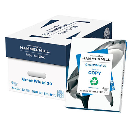 Hammermill® Great White® Copy Paper, Letter Size Paper, 20 Lb, 30% Recycled, 500 Sheets Per Ream, Case Of 10 Reams
