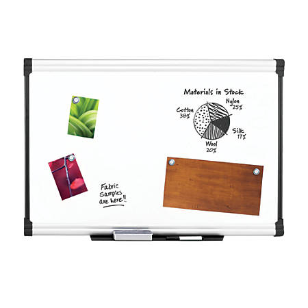 "FORAY™ Porcelain Magnetic Dry-Erase Board, 48"" x 72"", White Board, Aluminum Frame"