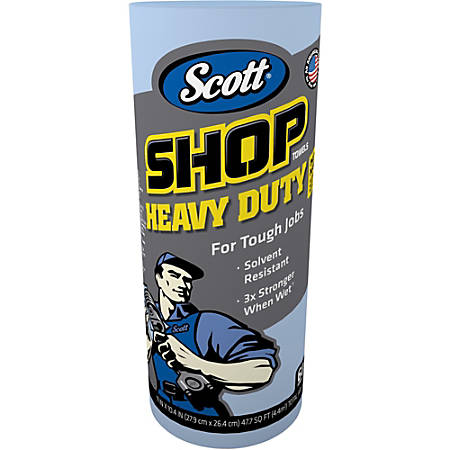 "Scott Pro Shop Towels - 11"" x 22.77 ft - 60 Sheets/Roll - Blue - Hydroknit - Solvent Resistant, Absorbent, Reusable, Soft, Strong, Heavy Duty - For Hand, Tools - 12 Rolls Per Carton - 720 / Carton"