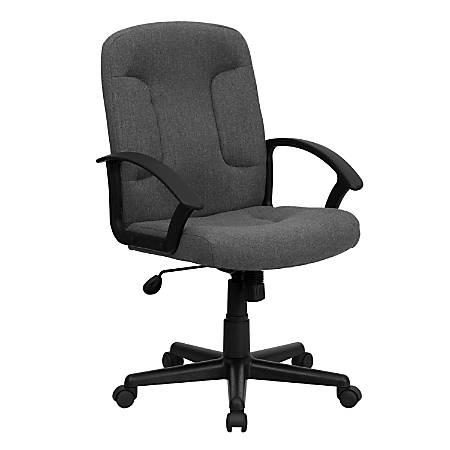 Flash Furniture Fabric Mid-Back Swivel Chair, Gray/Black